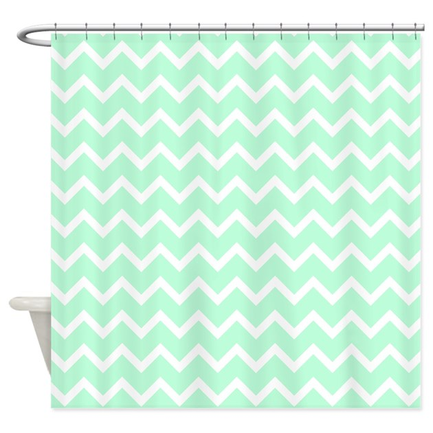 Mint Green Zigzags. Shower Curtain By Metarla