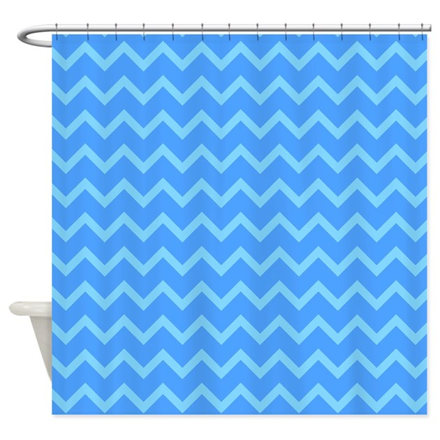 Blue Chevron Pattern Shower Curtain By Metarla