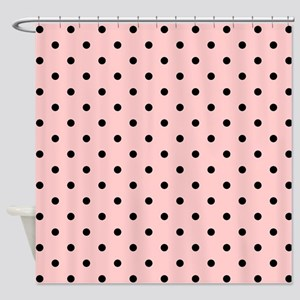 Pink and Black Dot Patttern. Shower Curtain
