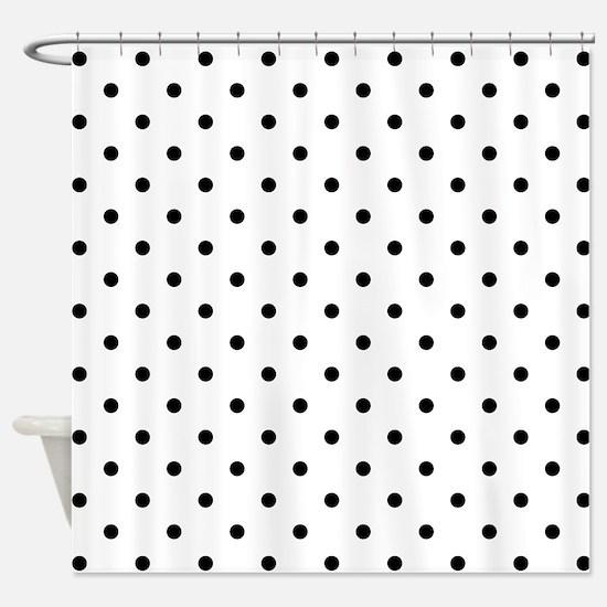 Black Polka Dot Pattern. Shower Curtain