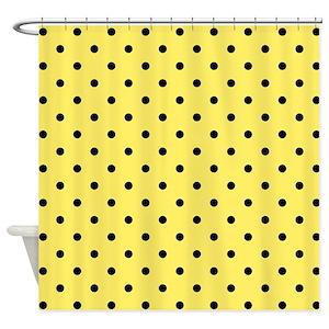Yellow Polka Dot Shower Curtains