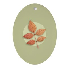 White Ash Leaves Oval Ornament