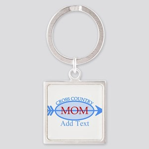 Cross Country Mom Blue Text Square Keychain