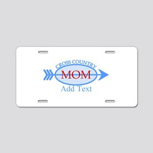 Cross Country Mom Blue Text Aluminum License Plate