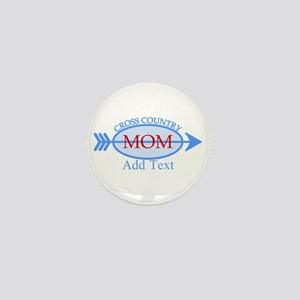 Cross Country Mom Blue Text Mini Button