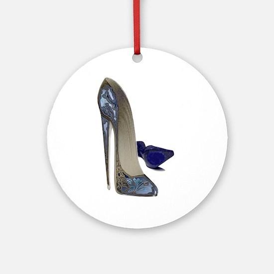 Blue Stiletto Shoes Art Ornament (Round)