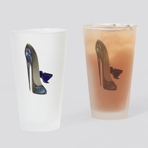 Blue Stiletto Shoes Art Drinking Glass