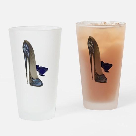 Blue Stiletto Shoes Art Drinking Glass