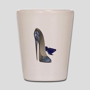 Blue Stiletto Shoes Art Shot Glass
