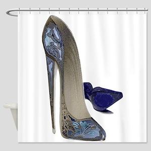 Blue Stiletto Shoes Art Shower Curtain