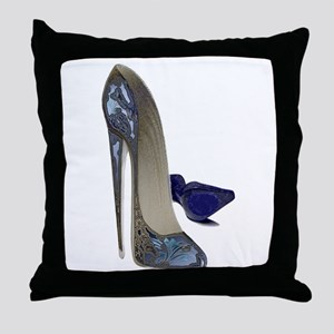 Blue Stiletto Shoes Art Throw Pillow