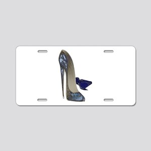 Blue Stiletto Shoes Art Aluminum License Plate