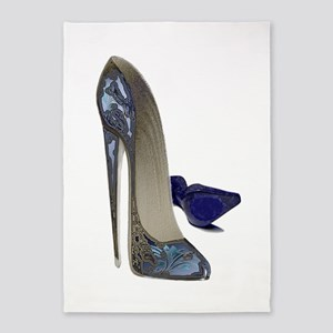 Blue Stiletto Shoes Art 5'x7'Area Rug