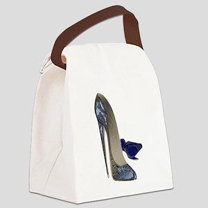 Blue Stiletto Shoes Art Canvas Lunch Bag
