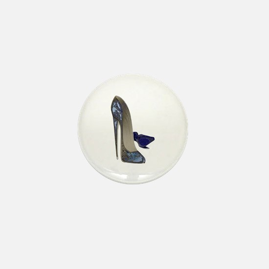 Blue Stiletto Shoes Art Mini Button