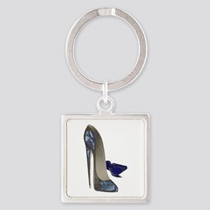 Blue Stiletto Shoes Art Square Keychain