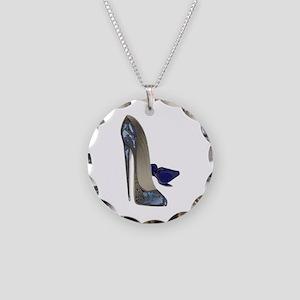 Blue Stiletto Shoes Art Necklace