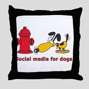 social media for dogs Throw Pillow