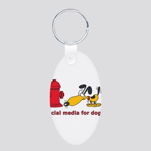 social media for dogs Aluminum Oval Keychain