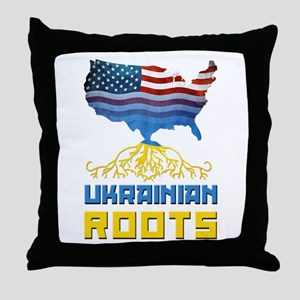 American Ukrainian Roots Throw Pillow