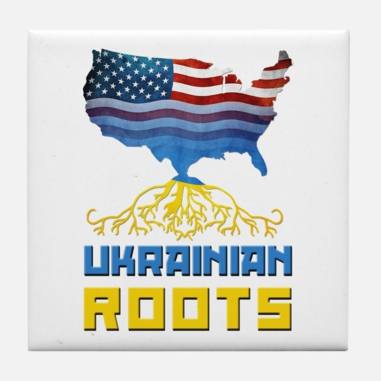 American Ukrainian Roots Tile Coaster