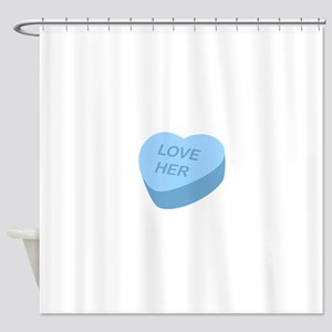 Love Her Candy Heart Shower Curtain