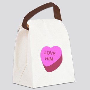 Love Him Candy Heart Canvas Lunch Bag