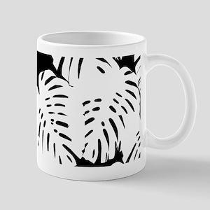 Black | White Banana Leaves Tropical Print Mugs