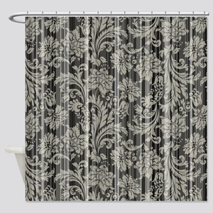Gray Tones Floral Vintage Damasks Shower Curtain