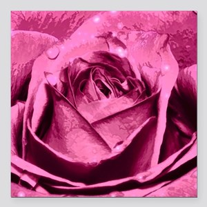 "Elegant Pink Rose Square Car Magnet 3"" x 3"""
