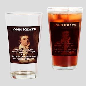 Beauty Is Truth - John Keats Drinking Glass