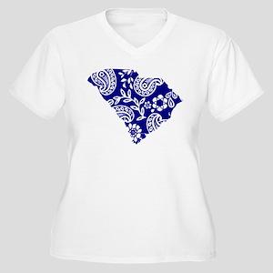 Blue Paisley Women's Plus Size V-Neck T-Shirt