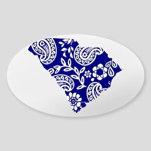 Blue Paisley Sticker (Oval)