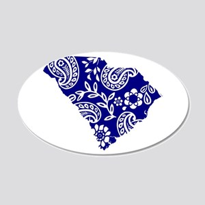 Blue Paisley 20x12 Oval Wall Decal