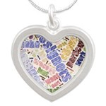 Graphic Design Word Cloud Silver Heart Necklace