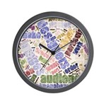 Graphic Design Word Cloud Wall Clock