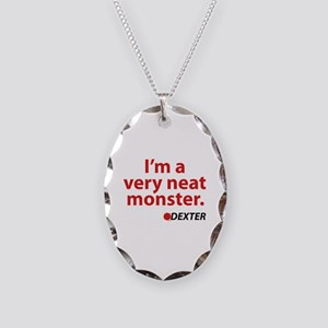 I'm a very neat monster Necklace Oval Charm