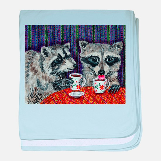 Raccoons at the Cafe baby blanket