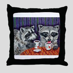 Raccoons at the Cafe Throw Pillow