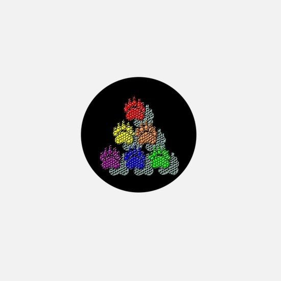 6 RAINBOW TILE BEAR PAWS SHAD Mini Button