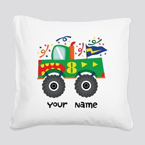 8th Birthday Monster Truck Square Canvas Pillow