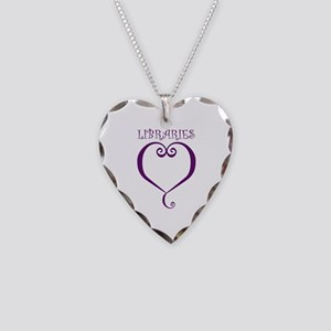 Libraries Necklace Heart Charm