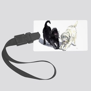 Stretching Labradoodles Large Luggage Tag