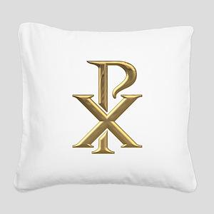 Golden 3-D Chiro Square Canvas Pillow