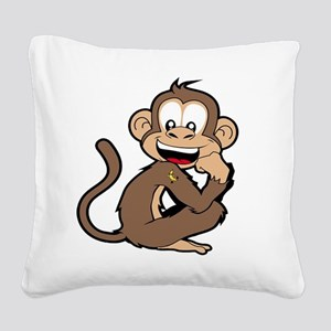 cheeky Monkey Square Canvas Pillow
