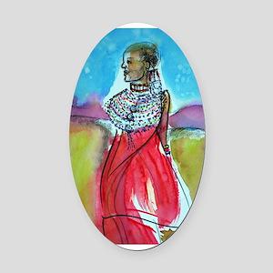 Africian tribal woman, art! Oval Car Magnet