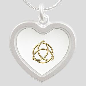 "Golden ""3-D"" Holy Trinity Symbol 1 Silver Heart Ne"