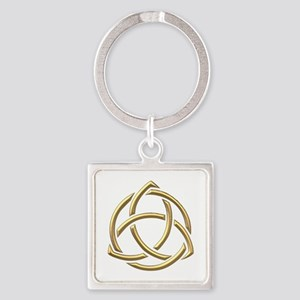 "Golden ""3-D"" Holy Trinity Symbol 1 Square Keychain"
