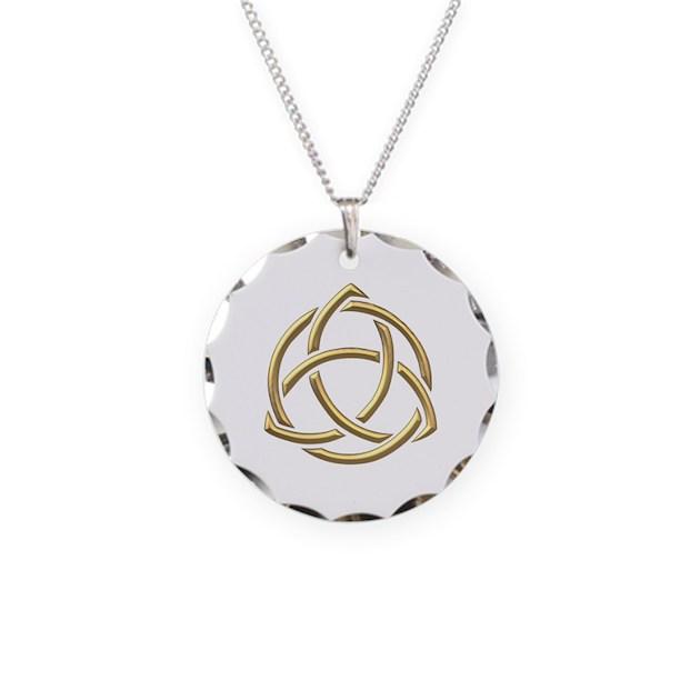 Golden 3 D Holy Trinity Symbol 1 Necklace By Artist4god