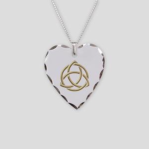 "Golden ""3-D"" Holy Trinity Symbol 1 Necklace Heart"